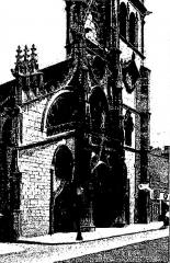 Eglise Notre-Dame-des-Marais - Français:   Collégiale Notre-Dame-des-Marais à Villefranche-sur-Saône; illustre les «vitraux du Moyen âge et de la Renaissance dans la région lyonnaise», de Lucien Bégule.