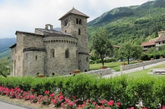 Basilique Saint-Martin -  Old Roman church at Aime in the Isere valley with lovely flowerdecoration