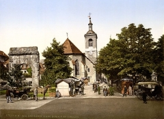 Arc de Campanus - English: The roman arch and the church, Aix-les-Bains, France.