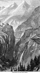 Forts de l'Esseillon : Fort Charles-Félix - Le train Fell, près des gorges du diable et des forts de l'Esseillon, avant Bramans. On peut observer en contre bas le pont du diable (piétons et véhicules)