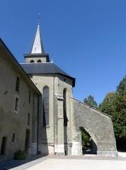 Ancien prieuré - English: Sight of the chevet of Saint-Laurent church of Le Bourget-du-Lac, in Savoie, France.