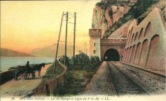 Tunnel de Brison - English: Postcard of the PLM railway line between Aix-les-Bains and the river Rhône all along the lac du Bourget lake, passing into the tunnel du Grand Rocher, in Saint-Germain-la-Chambotte (Savoie).