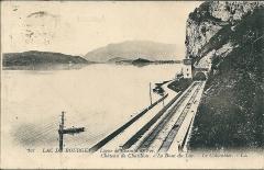 Tunnel de Brison - Français:   Le Lac du Bourget - Ligne de chemin de fer; le bout du lac; Le Colombier - avant 1928 (date d\'envoi postal de la carte)