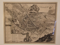Archevêché - English: This picture shows map of Chambéry in 1674. Picture of Coenraerd DECKER and of Giovanni Tomaso BORGONIO.