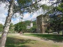 Eglise de Conflans - Français:   Conflans (Savoie), Tour sarrazine du jardin publique et Église Saint-Grat