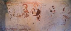 Eglise - Français:   Fresque présente sur le mur nord du clocher roman d\'Annecy-le-Vieux; \