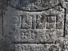 Croix de carrefour dite Croix de Verrières - Français:   Inscription de la croix du village de Verrières - Commune de Neydens   - Haute-Savoie