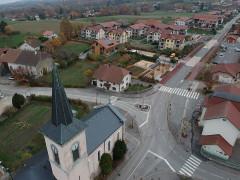 Croix de carrefour dite Croix de Verrières - Français:   Croix, Neydens, vue aérienne