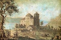 Château de Menthon - Deutsch: Gemälde der Burg Menthon-Saint-Bernard aus dem 19. Jahrhundert
