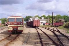 Ligne à voie ferrée métrique le Blanc-Argent (ou B.A.) sur le tronçon Luçay-le-Malé-Argy - Français:   L\'autorail Verney X213 en gare de Valençay le 14 ocotbre 1989.
