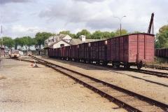 Ligne à voie ferrée métrique le Blanc-Argent (ou B.A.) sur le tronçon Luçay-le-Malé-Argy - La gare de Valençay le 14 ocotbre 1989.