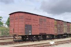 Ligne à voie ferrée métrique le Blanc-Argent (ou B.A.) sur le tronçon Luçay-le-Malé-Argy - Le wagon couvert K 226 en gare de Valençay le 14 ocotbre 1989.