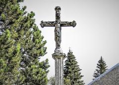 Croix de cimetière - Français:   Croix d\'église de Bouverans. Face ouest. Détail. Doubs