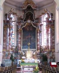 Eglise catholique Saint-Maurice - Alsace, Bas-Rhin, Église Saint-Maurice de Fegersheim (PA00132525, IA00023146).  Maître-autel avec tableaux