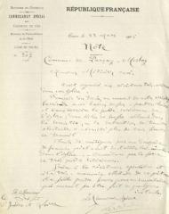 Eglise paroissiale Saint-Pierre - Français:   Document officiel d\'inventaire du mobilier de l\'église de Parçay-Meslay en 1906.