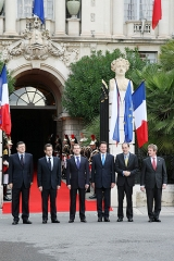 Palais de la Préfecture, ancien palais des rois de Sardaigne - English: NICE, FRANCE. President of the European Commission José Manuel Barroso, President of France Nicolas Sarkozy, Dimitry Medvedev, Mayor of Nice Christian Estrosi, Secretary General of the European Council Javier Solana and French Foreign Minister Bernard Kouchner (from left to right) before the start of the 22nd Russia–EU summit.