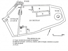 Château - English:   Drawing of Castle of Rougemont (90)