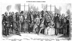 Théâtre du Gymnase - Français:   Les acteurs du théâtre du Gymnase, gravure d\'Eustache Lorsay (1812-1871) parue dans l\'Illustration volume 1846-1847
