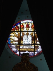Synagogue -  Synagogue of Bayonne (France). The stained glass window above the Torah Ark