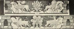 Eglise orthodoxe grecque - English: Black and white reproduction of a design by Charles Lameire of the headpiece part of a frieze encircling the lower part of the dome, and representing the