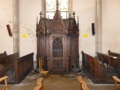 Eglise Saint-Amé - Français:   Le confessionnal sur le bas-côté gauche, Église Saint-Amé, Plombières-les-Bains (Vosges, Lorraine, France)