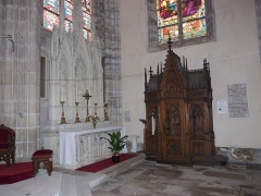 Eglise Saint-Amé - Français:   Autel secondaire de Saint Amé et confessionnal au transept droit, église Saint-Amé, Plombières-les-Bains (Vosges, Lorraine, France)