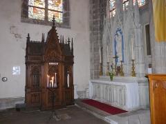 Eglise Saint-Amé - Français:   Autel secondaire de la Vierge et confessionnal au transept gauche, église Saint-Amé, Plombières-les-Bains (Vosges, Lorraine, France)