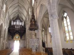 Eglise Saint-Amé - Français:   La chaire et l\'orgue, Église Saint-Amé, Plombières-les-Bains (Vosges, Lorraine, France)