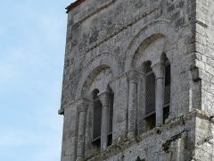 Eglise Saint-Christophe - Français:   Côté nord, les ouvertures du clocher de l\'église Saint-Christophe de Vindelle, Charente, France.