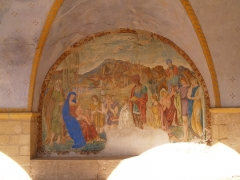 Chapelle Saint-Pancrace -  Fresque du porche - l'Adoration des rois et des bergers - Ermitage Saint Pancrace - Grambois