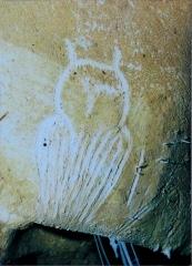 "Grotte ornée du paléolithique supérieur située au lieudit ""Combe d'Arc"" dite grotte Chauvet - English: Engraving of an owl from the Chauvet cave. Photo of a replica of the engraving in the Brno museum Anthropos."