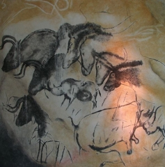 """Grotte ornée du paléolithique supérieur située au lieudit """"Combe d'Arc"""" dite grotte Chauvet - English: Replica of the painting from the Chauvet cave, in the Anthropos museum, Brno. The original art is approximately 31,000 years old, probably Aurignacien. The group of horses probably does not picture a herd of them, but some kind of etiological study, showing, from left to right, calmness, aggression, sleep and grazing."""