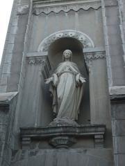 Usine de chaux - cimenterie Lafarge, chapelle Saint-Victor de la cité Blanche - Français:   statue sur la façade de la chapelle de la cité ouvrière de Lafarge - Viviers (Ardèche)