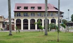 Place de l'Esplanade, dite place des Palmistes - English: Cayenne, place des palmistes: Banque française commerciale. French Guiana.