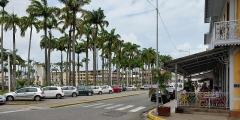 Place de l'Esplanade, dite place des Palmistes - English: French Guiana: avenue Charles-de-Gaulle, place des palmistes and bar des palmistes.