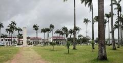 Place de l'Esplanade, dite place des Palmistes - English: Cayenne, French Guiana: place des palmistes towards the west.