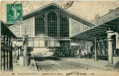 Gare -  Carte postale ancienne éditée par LL, N° 96 Saint-Quentin: Intérieur de la w:fr:Gare de Saint-QuentinGare