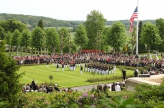 Mémorial Américain du Bois Belleau -  U.S. Marines and their French counterparts gather at Aisne-Marne American Cemetery and Memorial in Belleau, France, May 25, 2014, to celebrate Memorial Day and mark the 96th anniversary of the Battle of Belleau Wood. Participating U.S. Marine Corps units included the 5th Marine Regiment, the Wounded Warrior Regiment and Marine Forces Europe and Africa. Participating French military units included the 21st Marine Infantry Regiment and the Musique Principale des Troupes de Marines. (DoD photo by Master Sgt. Chad McMeen, U.S. Marine Corps/Released)