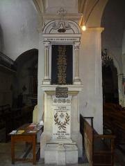 Eglise paroissiale Saint-André et chapelle des pénitents blancs ou Notre-Dame de Pitié -  Monument aux morts de la Première Guerre mondiale dans l'église Saint-André de Mane