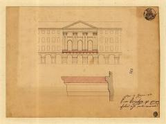 Chapelle de la confrérie du Saint-Sépulcre ou des Pénitents bleus -  Consiglio d'Ornato :Projet pour l'adjonction, en 1850, d'un balcon sur la façade de la chapelle du San Sépulcre (Pénitents bleus) de la place Garibaldi à Nice.