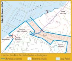 Fortifications de la porte Pairolière -  Situation des remparts de la ville ville par rapport à l'actuelle place Garibaldi.