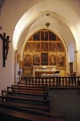 Chapelle Saint-Quintin - Français:   Galey (Ariège, France), chapelle saint Quentin, le chœur et son retable de 15 tableaux, classé M.H..