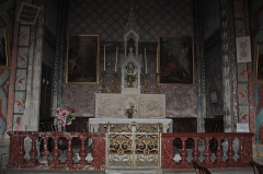 Canal du Midi - English:  The communion table of Purgatory (XIXth century). It is flanked by two paintings of Gamelin (1777) restored by the Fine Arts: Healing the Paralytic St Peter and St John in Jerusalem. (Too unenlightened ...).