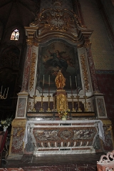 Canal du Midi - English:  All the chapels have an identical communion table made of brocatelle marble from Minervois. The shrine bears a gilded wooden statue. Between the columns of the altarpiece, the Assumption of the Virgin, panel picture by Despax. In the canopy is represented the Holy Spirit ...