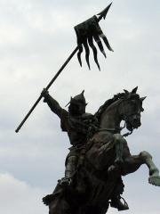 Statue de Guillaume le Conquérant -  Statue de Guillaume le Conquérant devant la mairie de Falaise (Calvados, France), Rochet  sculpteur, Thiébaut fondeur