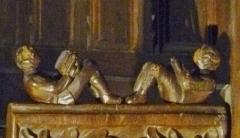 Eglise Saint-Blaise et Saint-Martin - Français:   Détail du stalles; l\'église de Saint-Martin et Saint-Blaise, département du Cantal, en région Auvergne-Rhône-Alpes, France