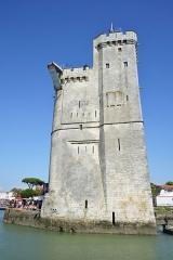 Slip way - La Tour Saint-Nicolas sur laquelle le plongeoir a été installé. Red Bull Cliff Diving World Series 2016, l' étape de La Rochelle. La Rochelle, Charente-Maritime, France.