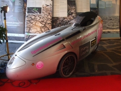Cinéma Rex - English: Electrically-powered tricycle Sunrider, with Chrystalyte motor and Lithium-Polymer batteries, Optmists without borders, shown in Rex Cinema Hall during Icare, Responsible Tourism Festival, Brive la Gaillarde, October 9, 2010.