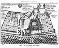 Ancienne abbaye bénédictine Saint-Pierre et Saint-Paul - English: Bèze Abbey in 1690