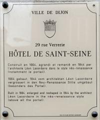 Hôtel de Saint-Seine -  Plaque d'information trilingue (français, anglais, allemand) de l'hôtel de Saint-Seine, à Dijon